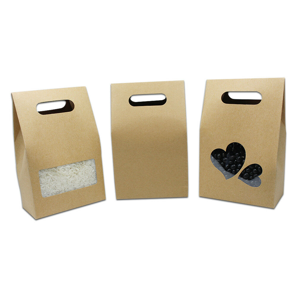 Kraft Paper Packaging Box With Handle And Clear Window