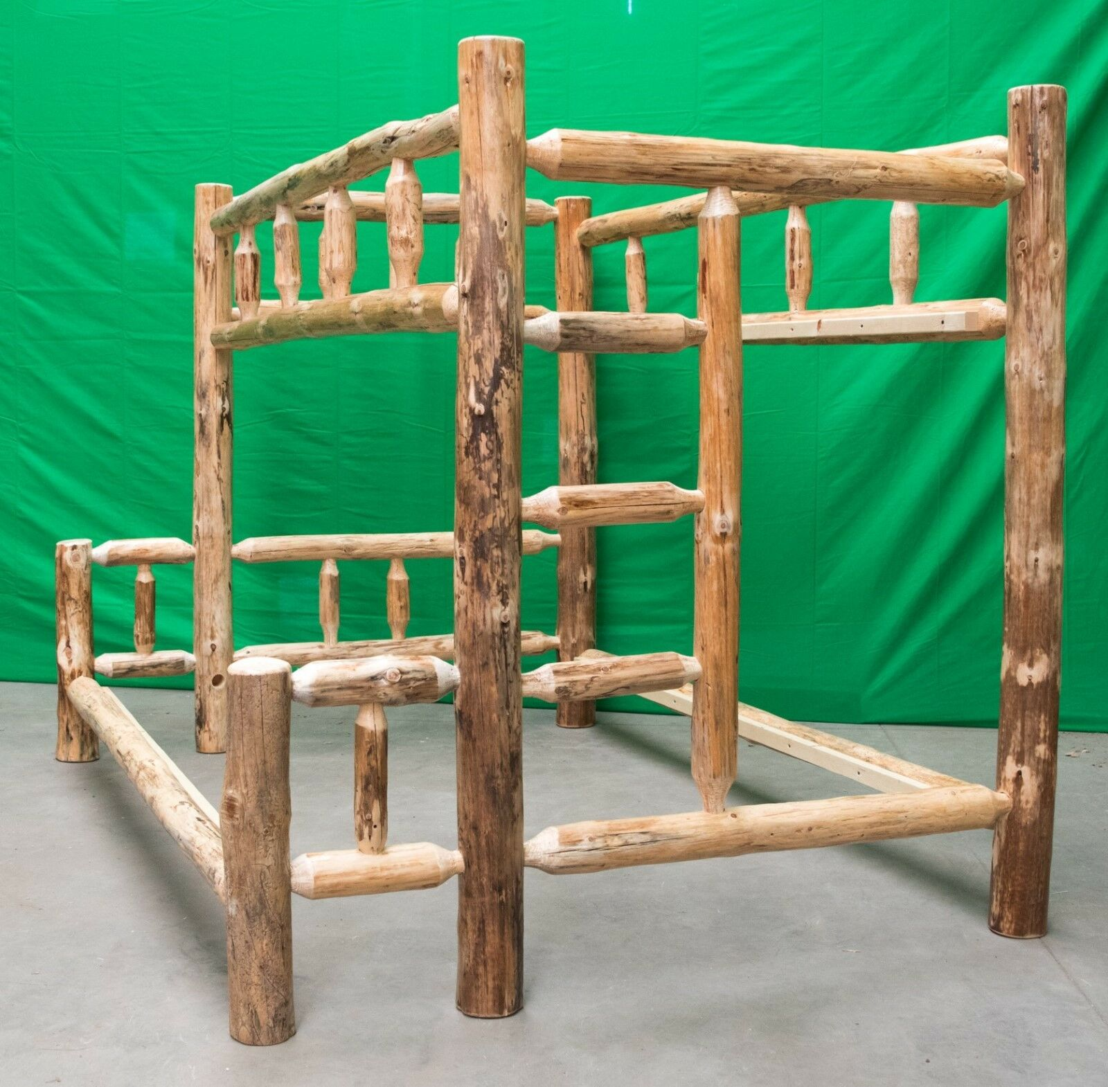 Rustic Log Bunk Bed Twin Over Queen 899 00 Free Shipping