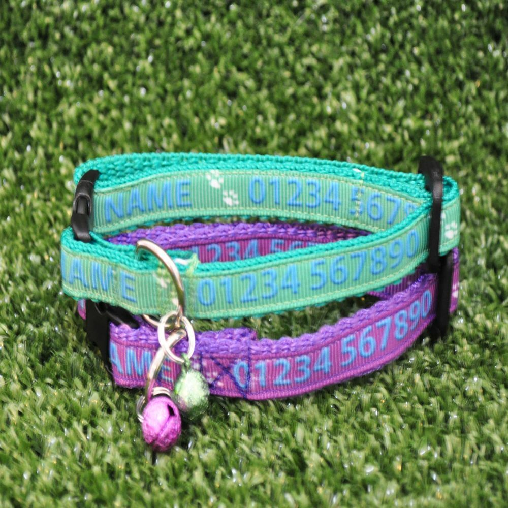 Custom Personalised Name Chipped Neutered Spayed Kitten Cat Collar Puppy Dog