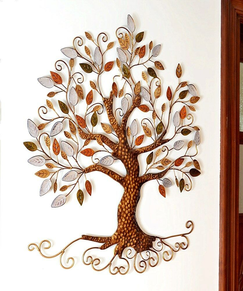 Tree Of Life Metal Hanging Wall Art Leaves Sculpture Home