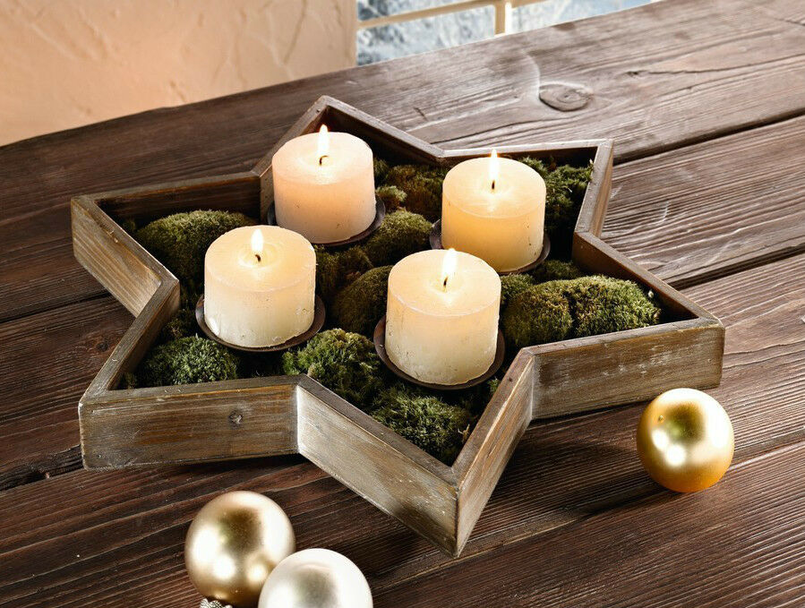 kerzenhalter holzstern adventskranz gesteck weihnachten. Black Bedroom Furniture Sets. Home Design Ideas