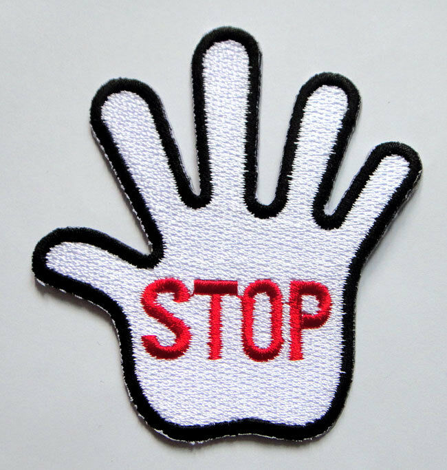 White Stop Hand Sign Symbol Embroidered Iron On Patch Free Shipping