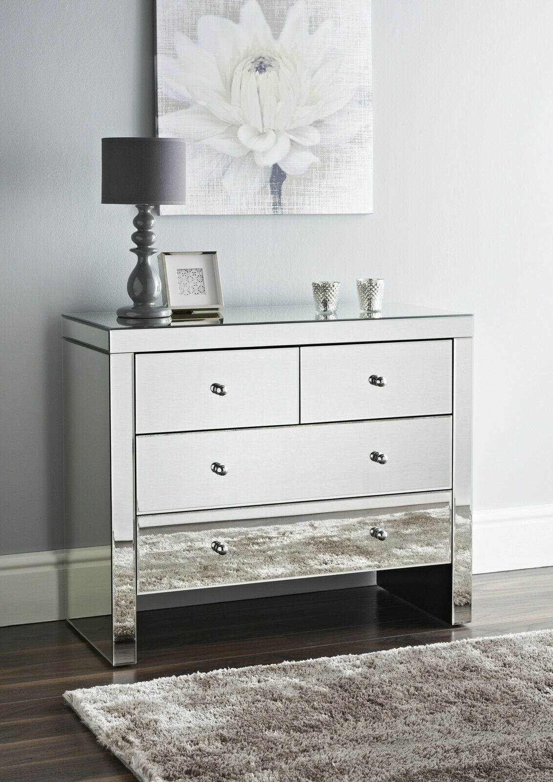 mirrored 2 over 2 chest of drawers storage cabinet 4 drawer picclick uk. Black Bedroom Furniture Sets. Home Design Ideas