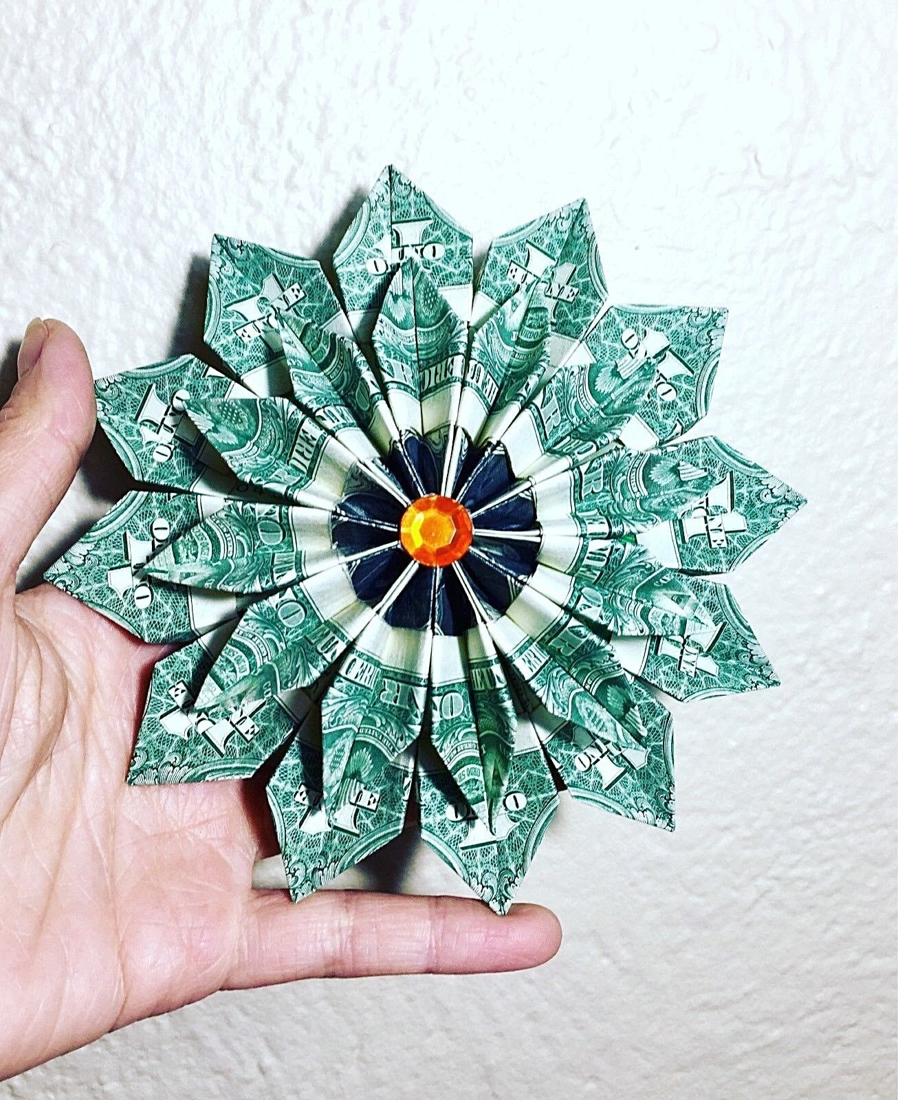 Money Origami Flower Ornament Wreath 12 Real 1 Bills Graduation