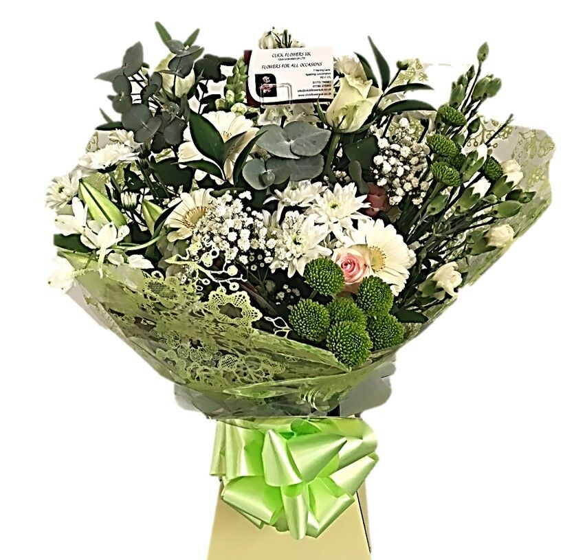 FRESH REAL FLOWERS Delivered UK Double Cream Bouquet Free Flower ...