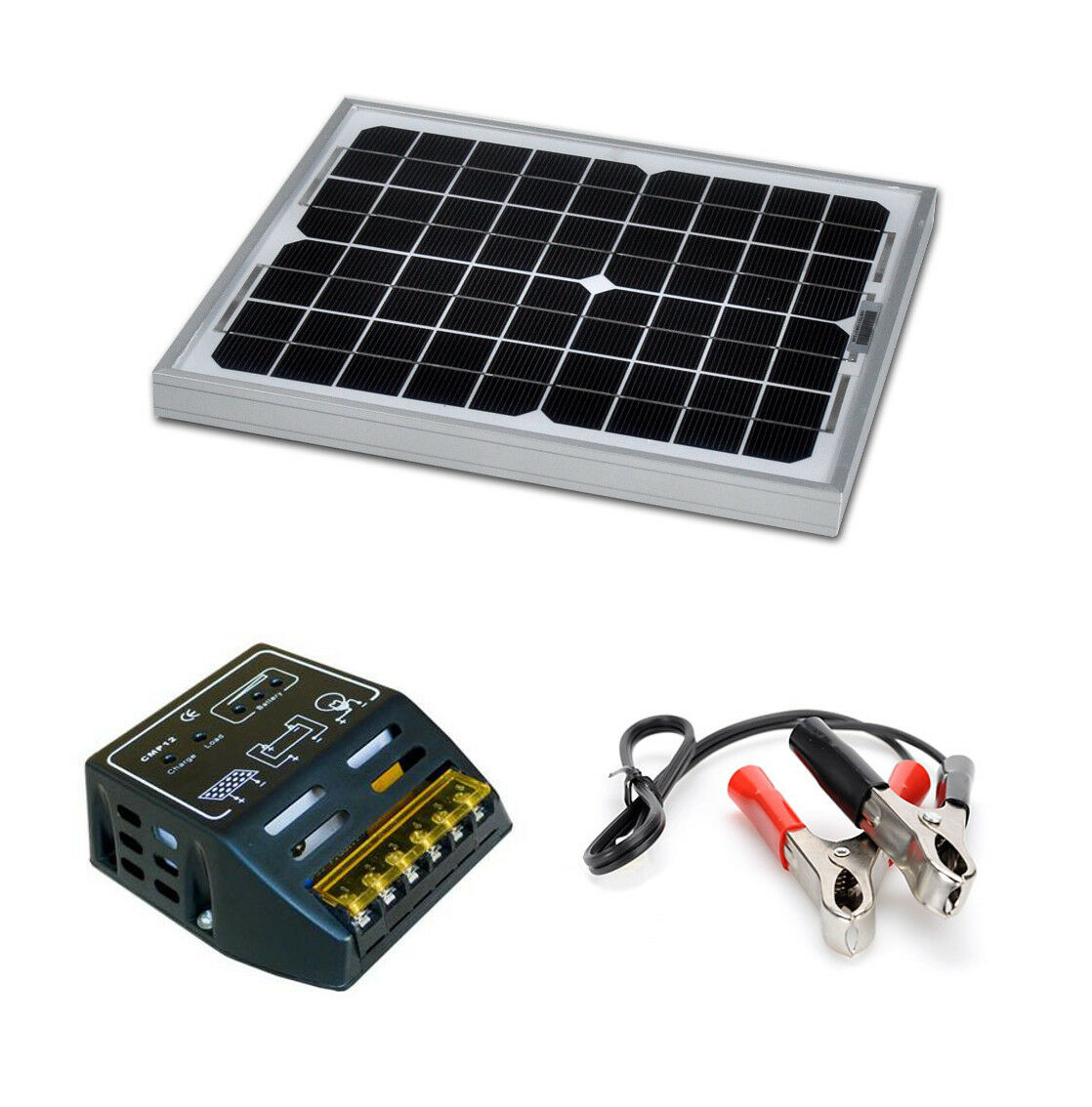 kit panneau solaire 10w 12v avec r gulateur de charge pour. Black Bedroom Furniture Sets. Home Design Ideas