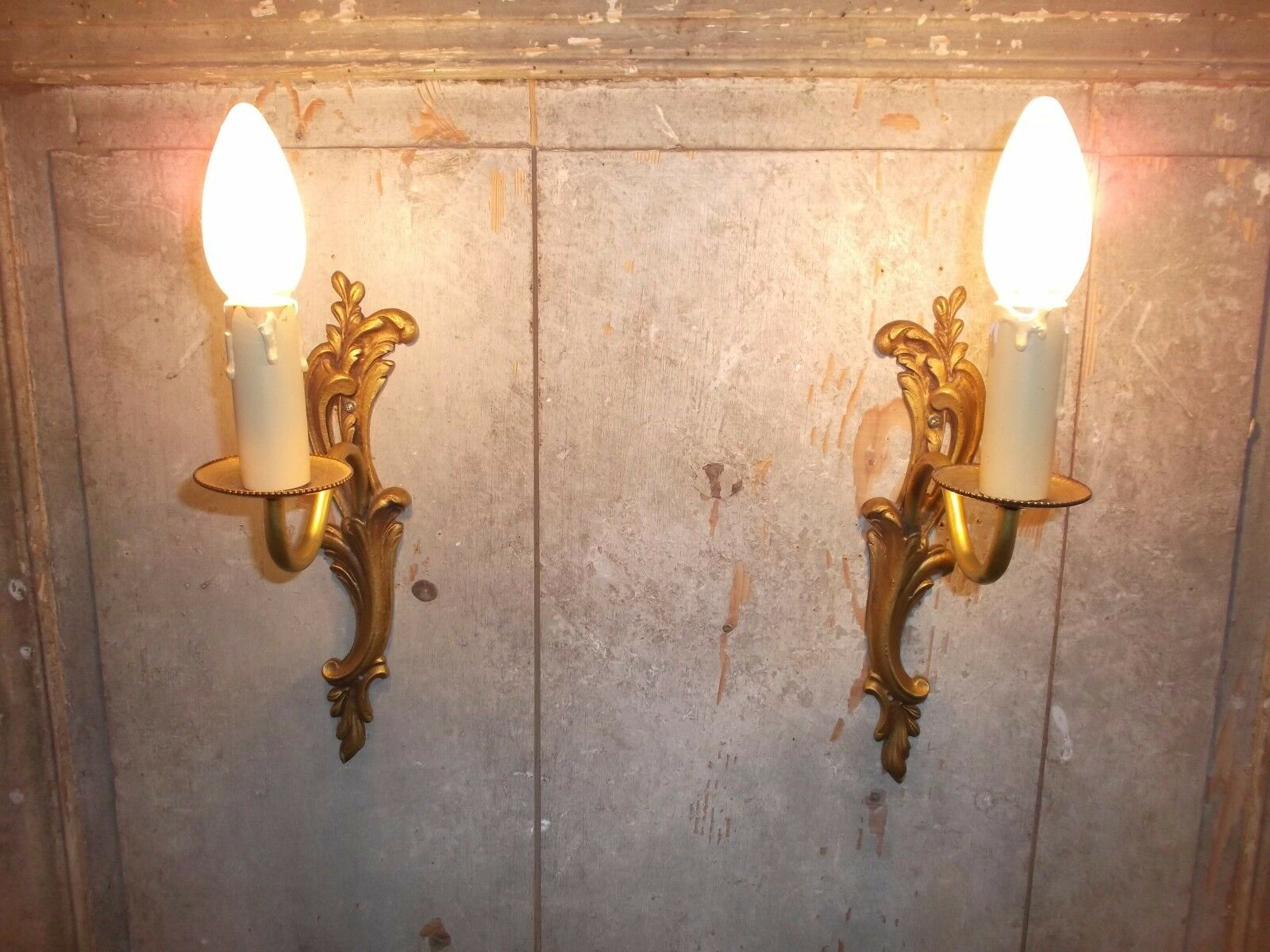 French a pair of patina gold bronze wall light sconces  antique - classic