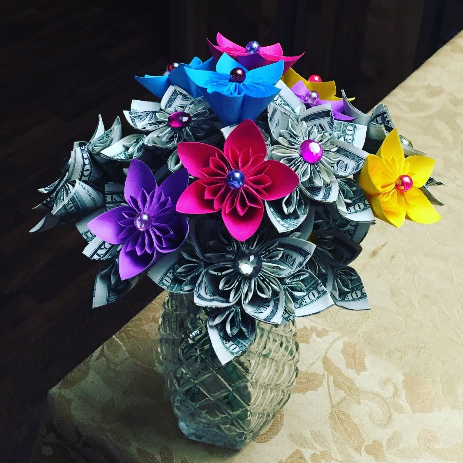 Money Origami Flower Bouquet Gift Decor Anniversary Valentine