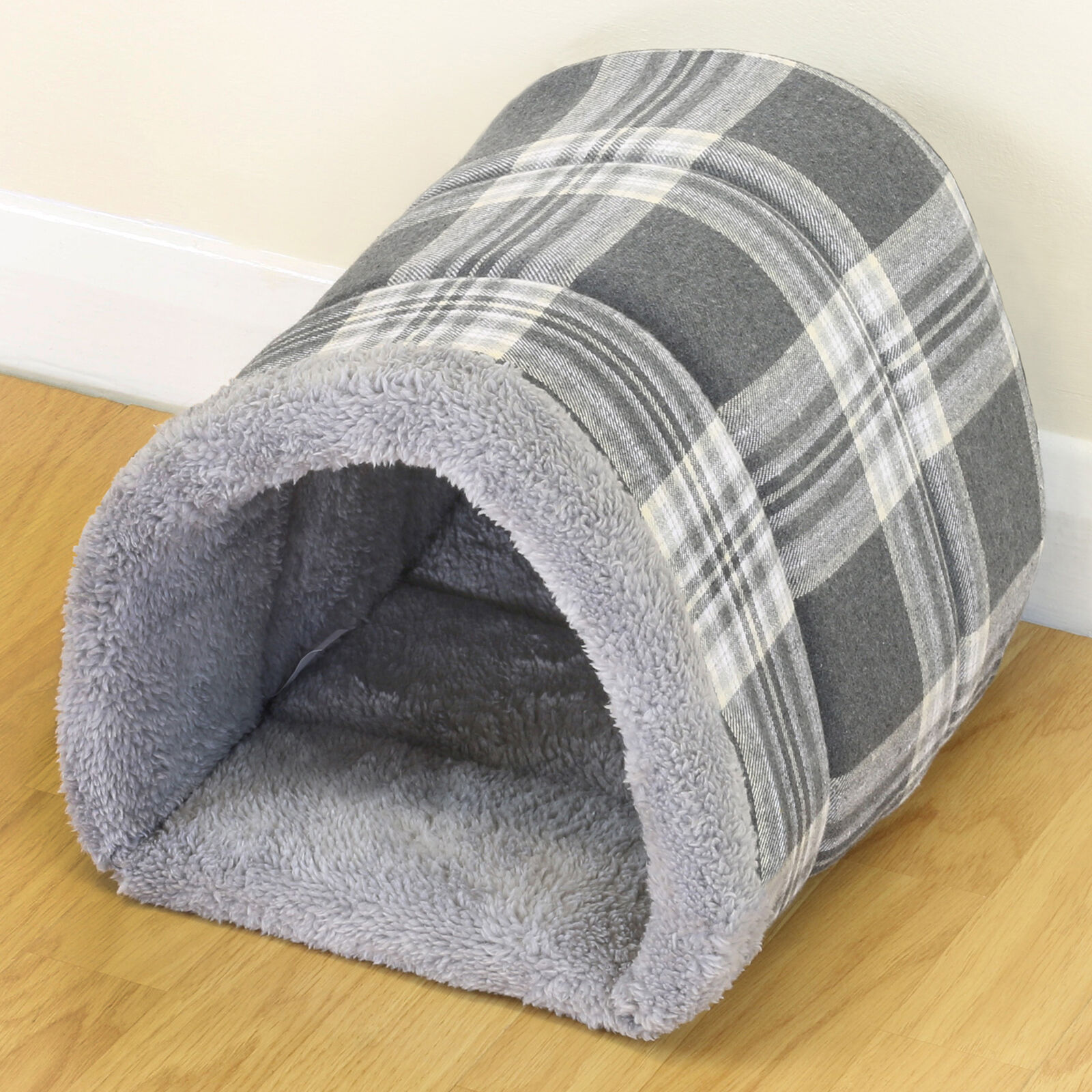 Small Soft Grey Check Pet Cat/Kitten Dog/Puppy Igloo Bed Warm Tunnel/Snug/Cave