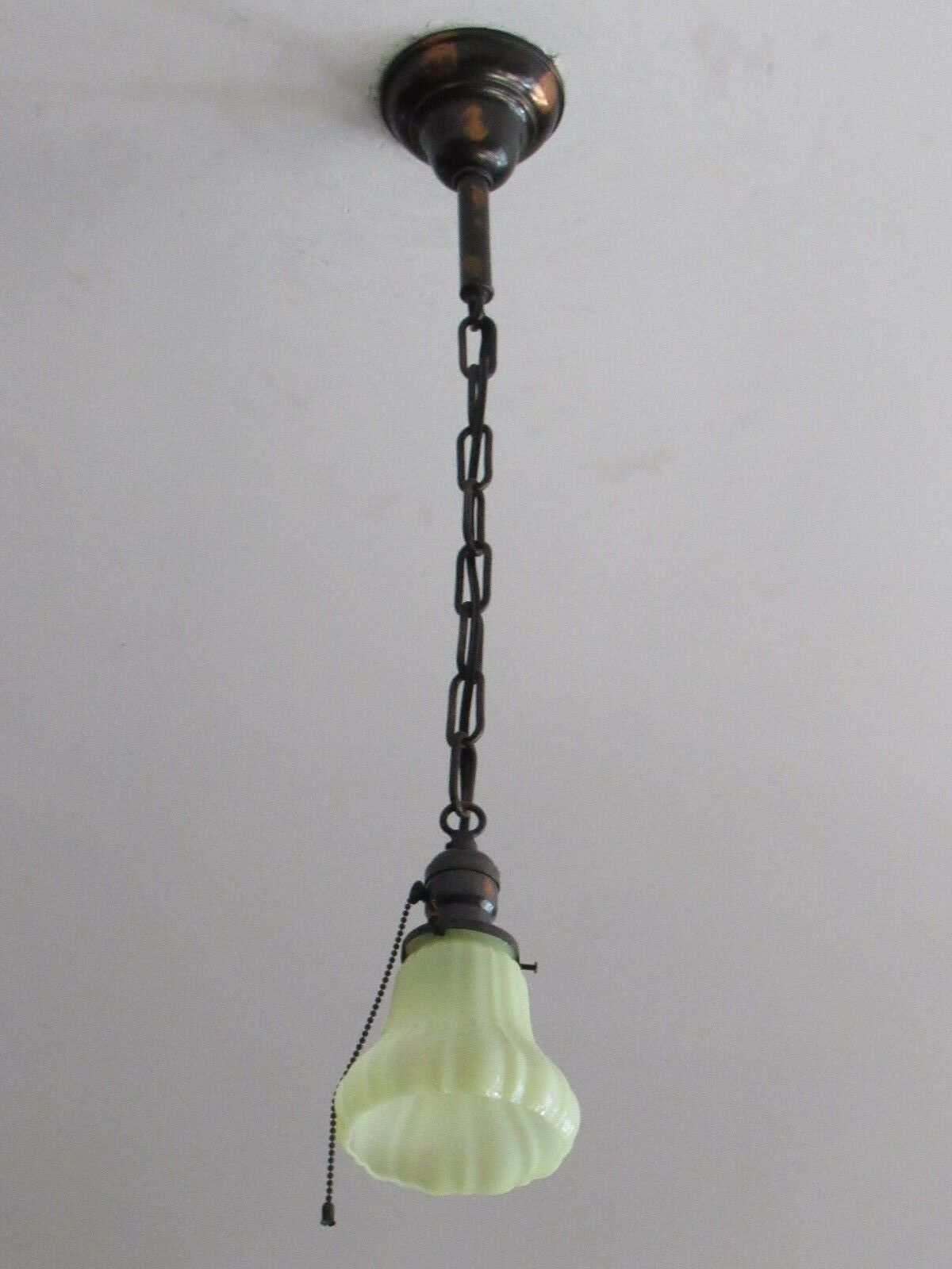 Gorgeous Antique Japanned Light Fixture with Vaseline Shade Completely Restored!