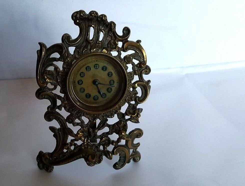 Late 19th Century British United Clock Co - Gilt Brass 16 cm tall