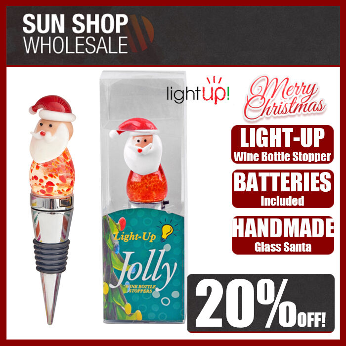 100% Genuine! Jolly Light-Up Glass Wine Bottle Stopper Santa Christmas!