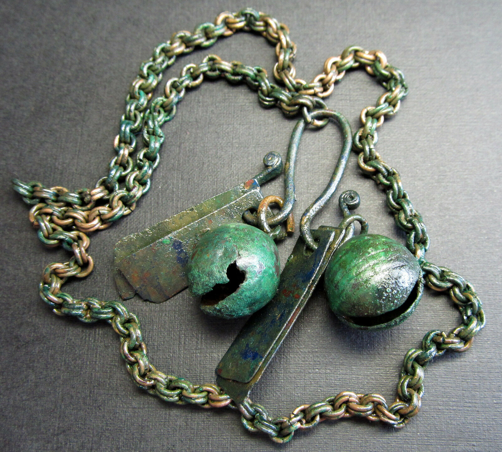 Ancient  Bronze Viking Chain Decoration. Bell.