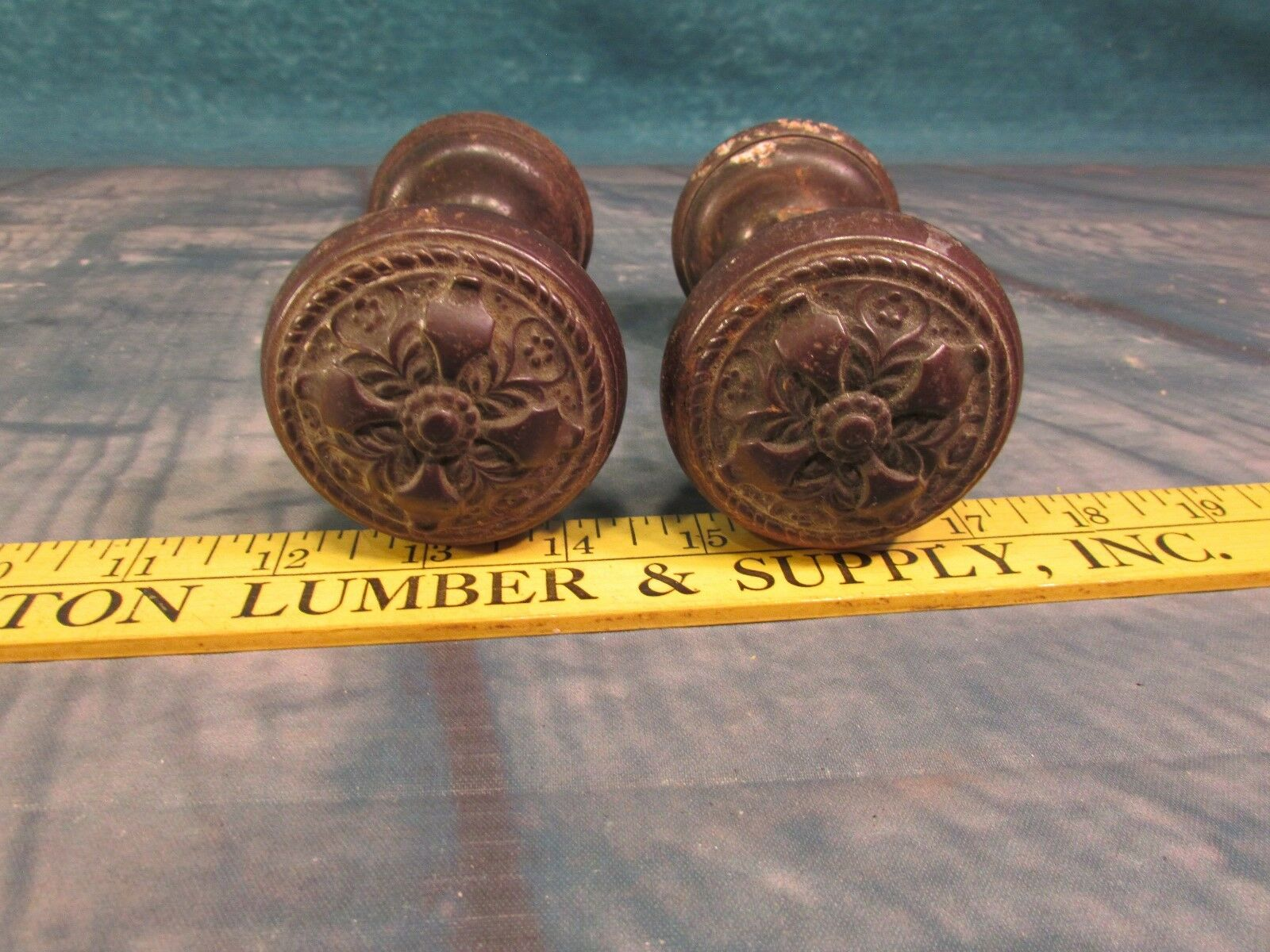 Russell Erwin 2 Pairs of door Knobs ornate brass 1897 heavy cast beautiful