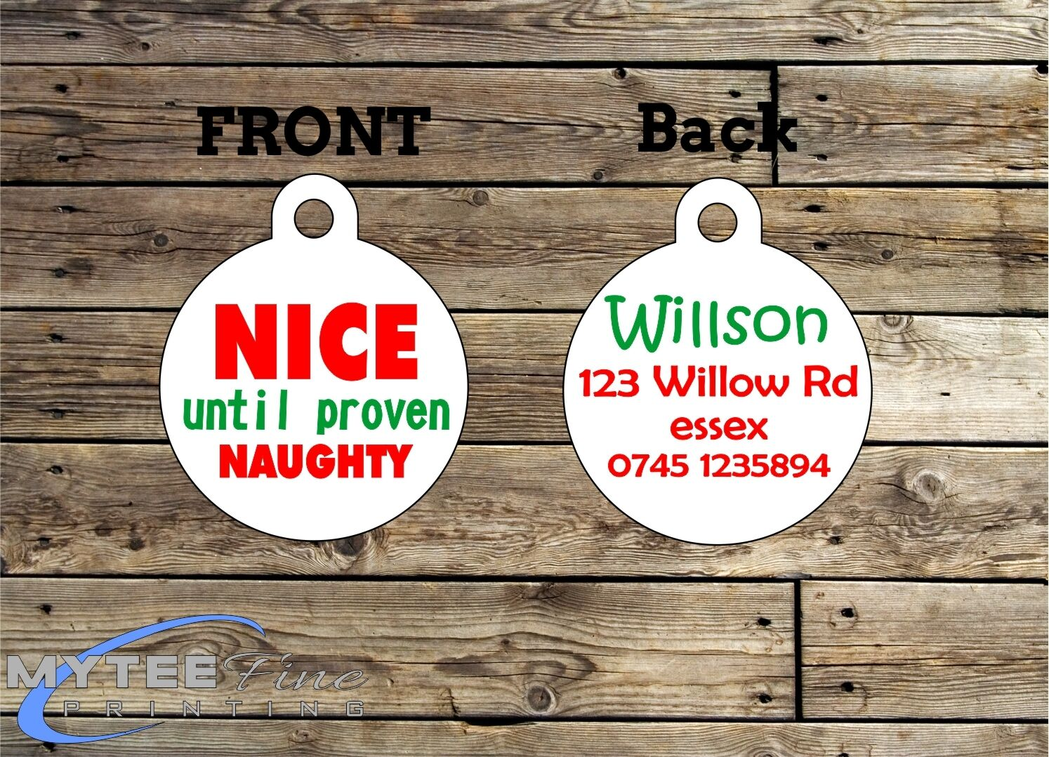 Christmas Dog Cat ID Tags Nice Until Proven Naughty Double Sided Personalised
