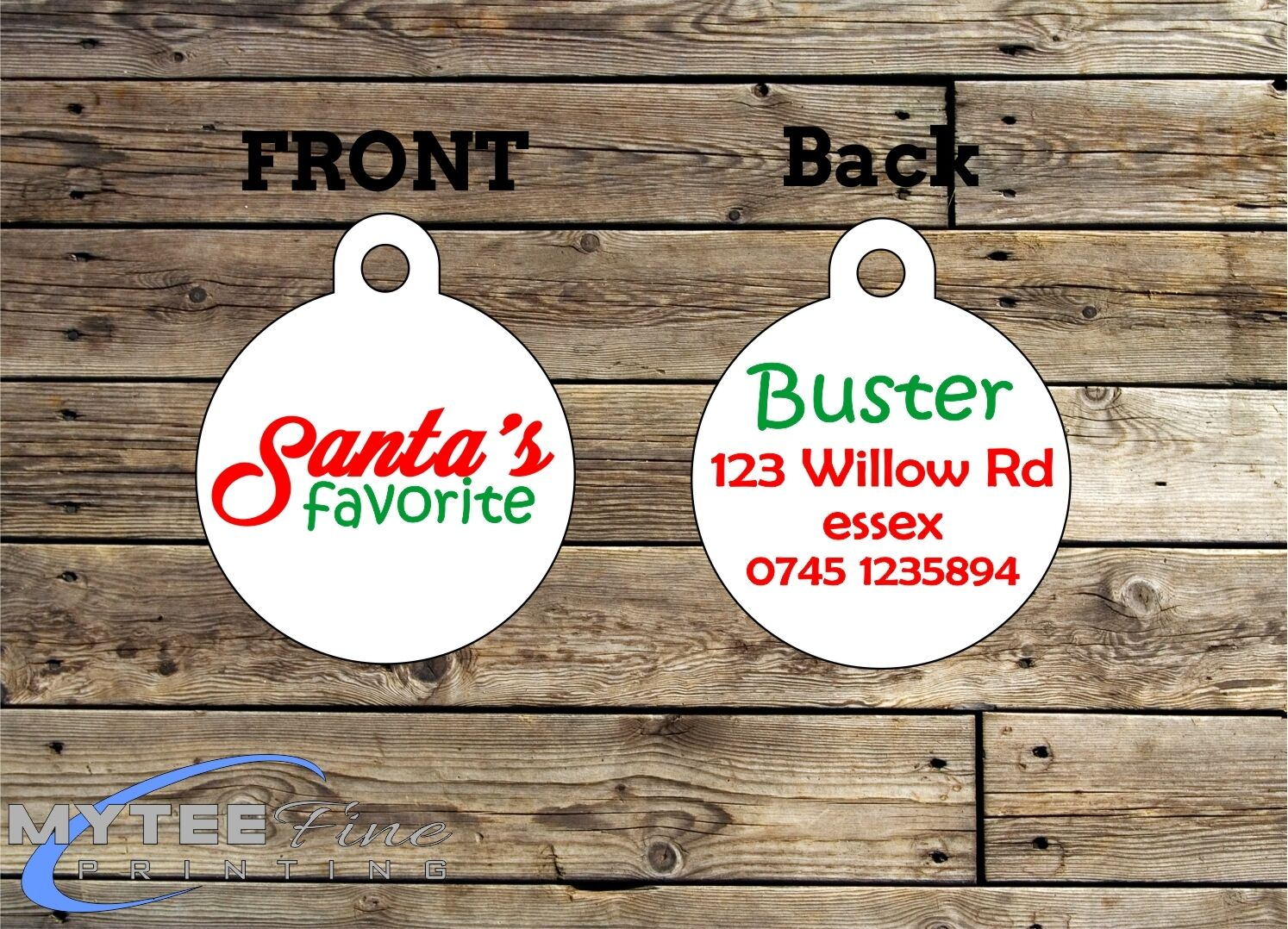 Christmas Dog ID Tags -- Santa's Favorite -- Double Sided Personalised Pet Tags