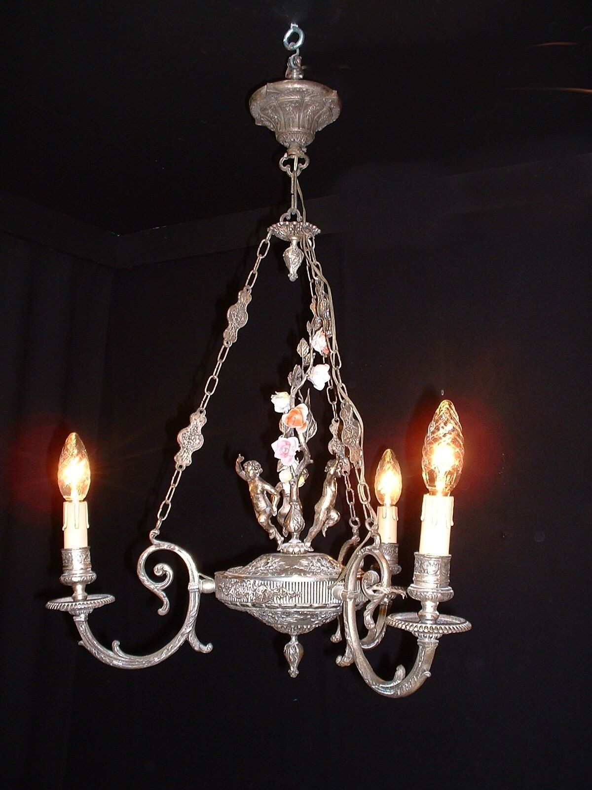 Old Incredible French bronze cherub chandelier,porcelain flowers, silver color