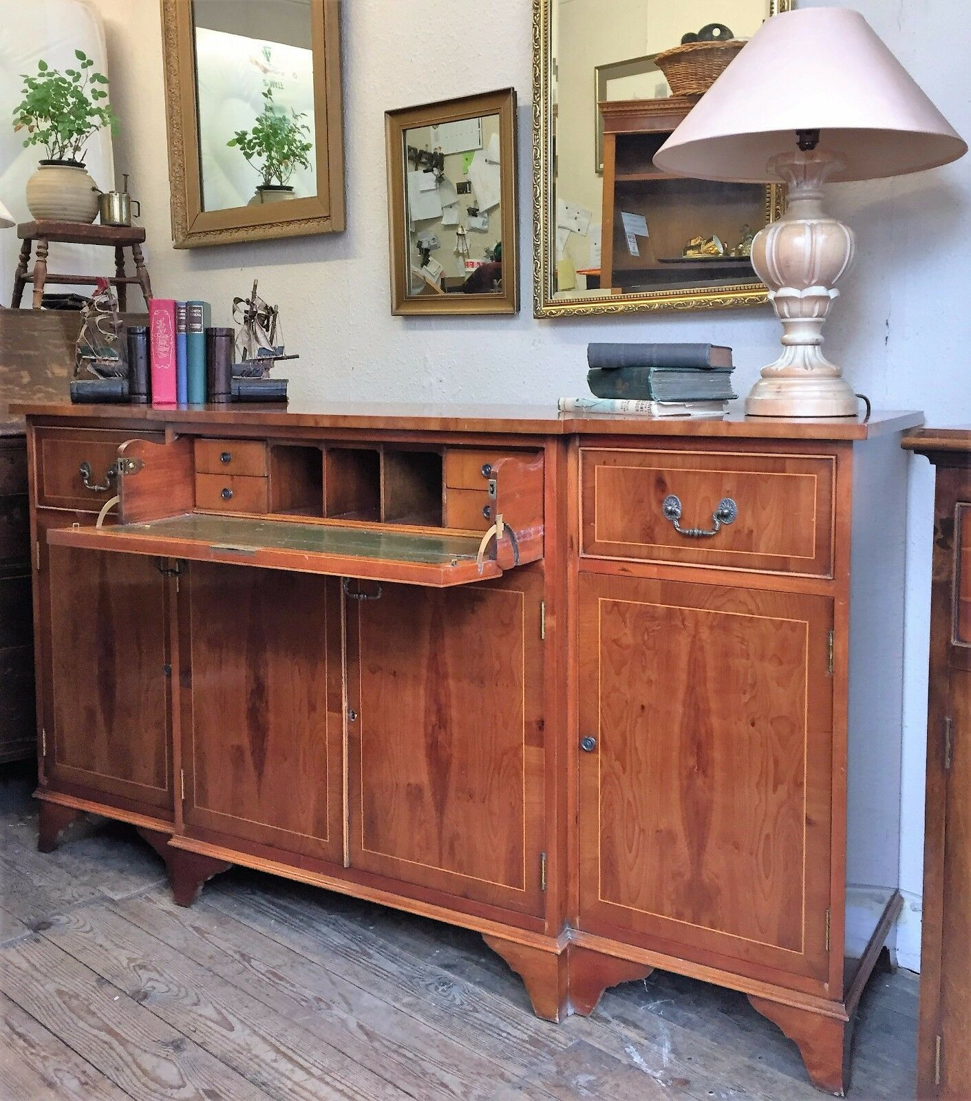 Jaycee Yew Wood Reproduction Sideboard With Secretaire Drawer