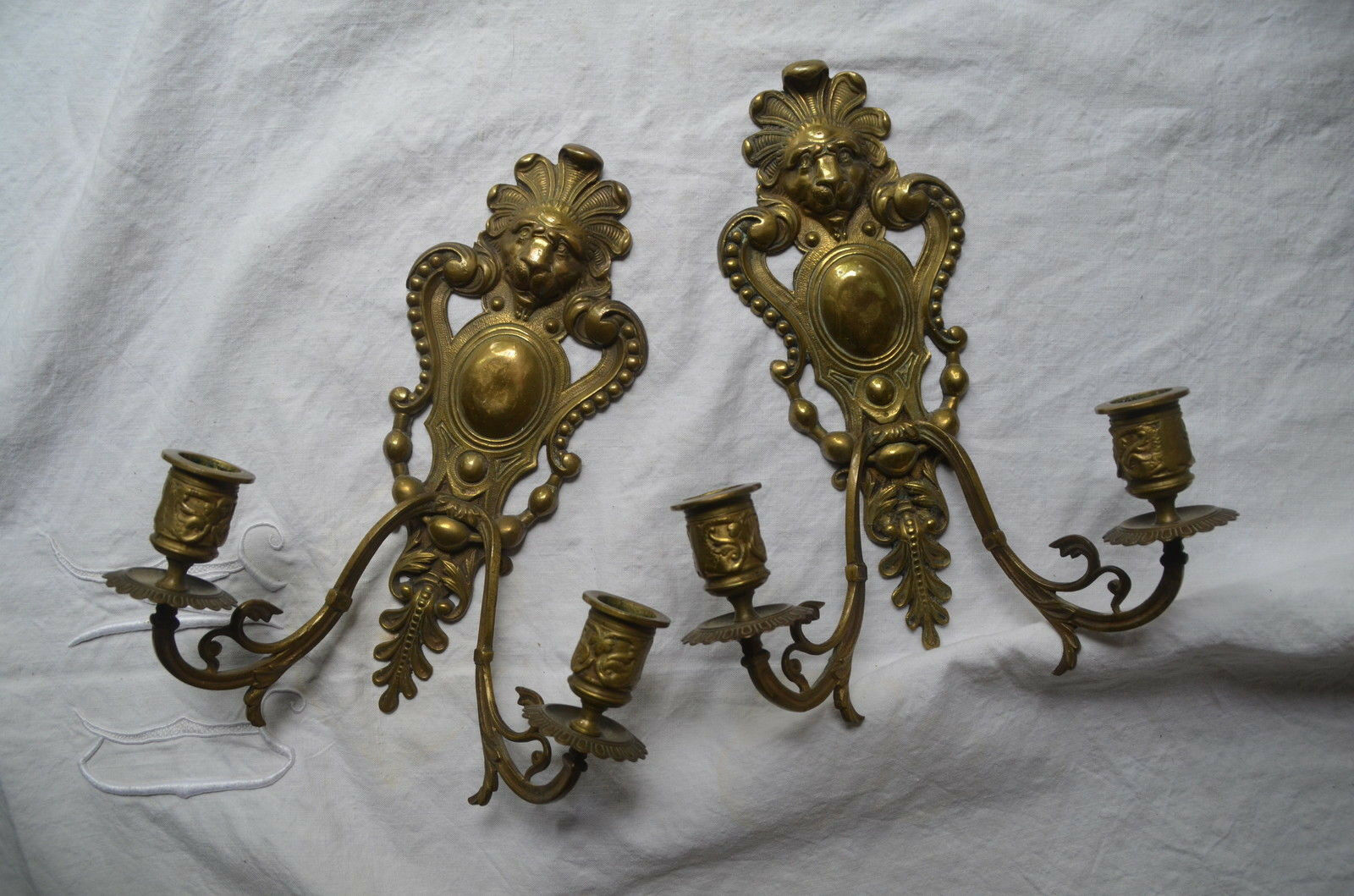 Pair antique French Louis XVI style 19th century solid bronze wall sconces