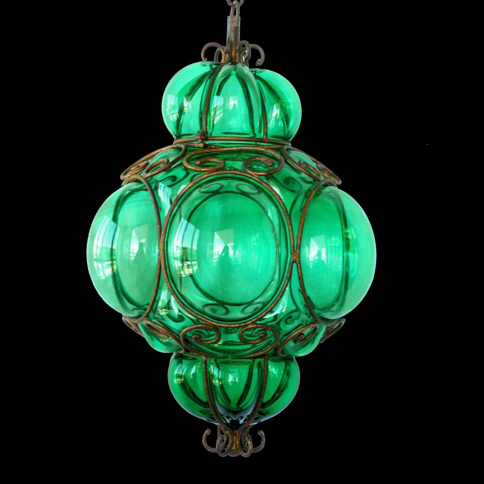 Vtg Murano Caged Glass Green Ceiling Pendant Light/Midcentury Hanging Lamp/Italy