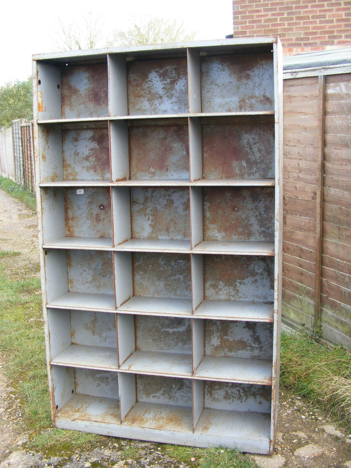Vintage Retro VICKERS Industrial Metal Pigeon Hole Cabinet Shelving Storage Unit