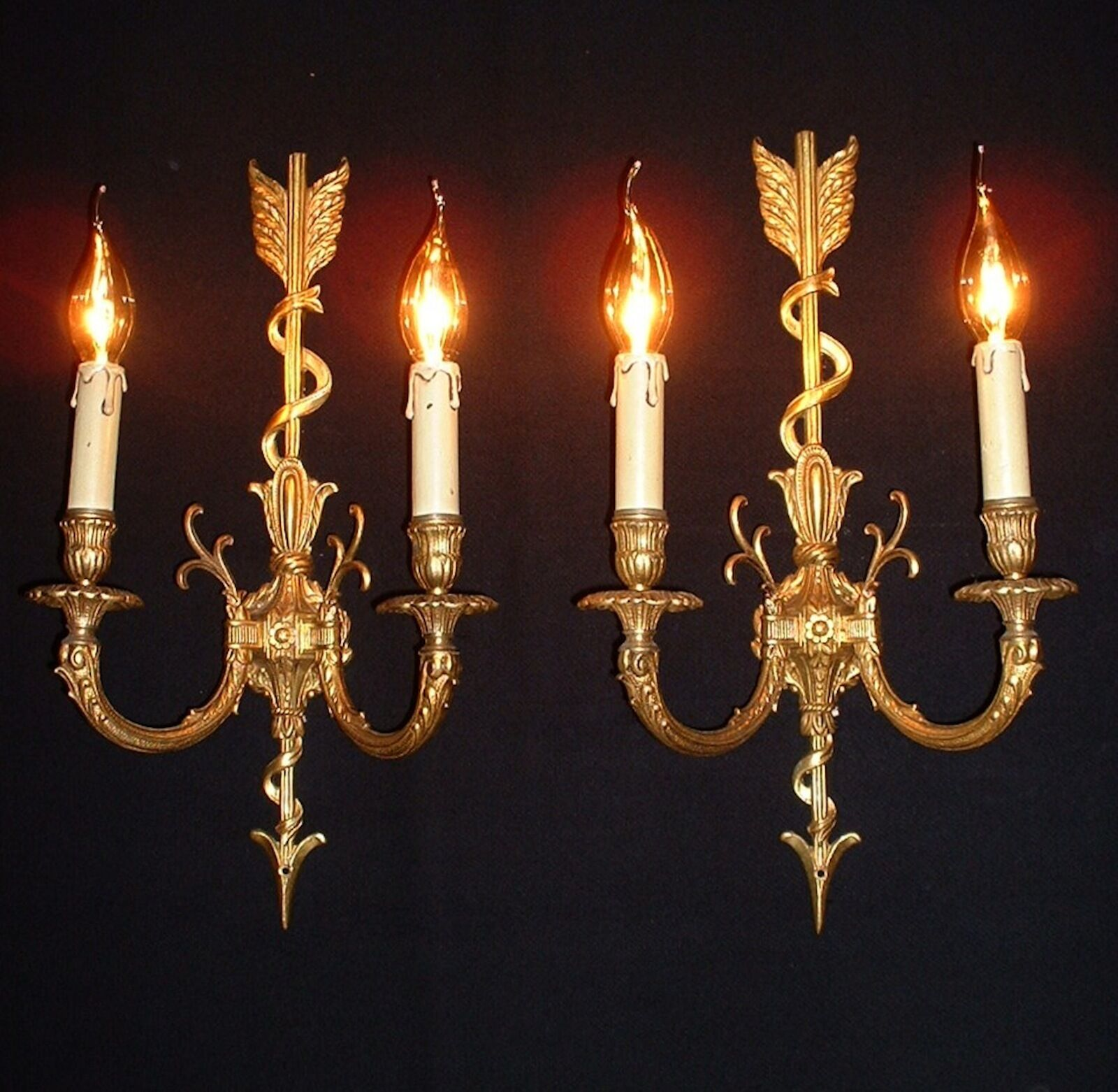 Vintage beautiful large pair French Empire style wall sconces