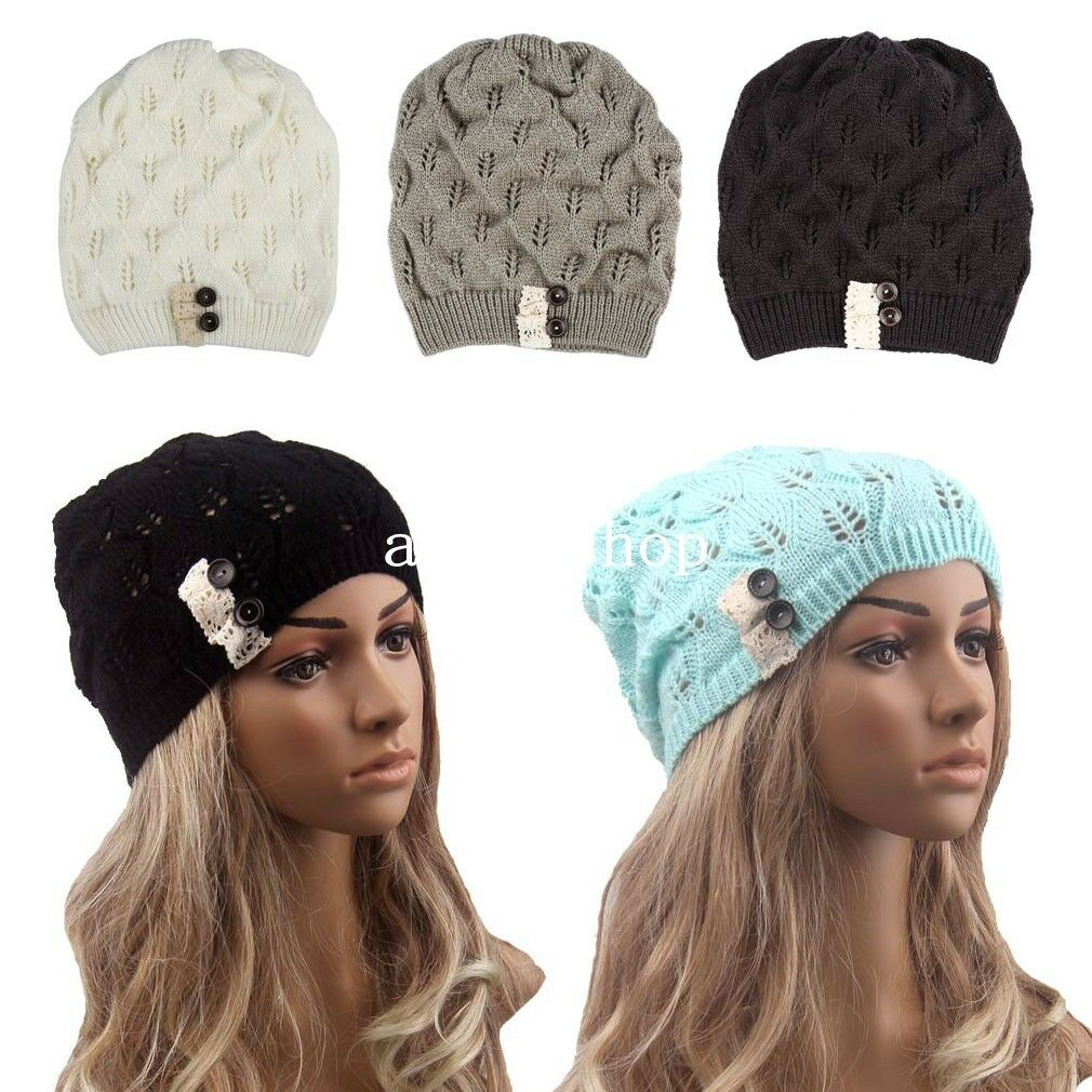 womens beret beanie hat knitted baggy knit crochet ski cap