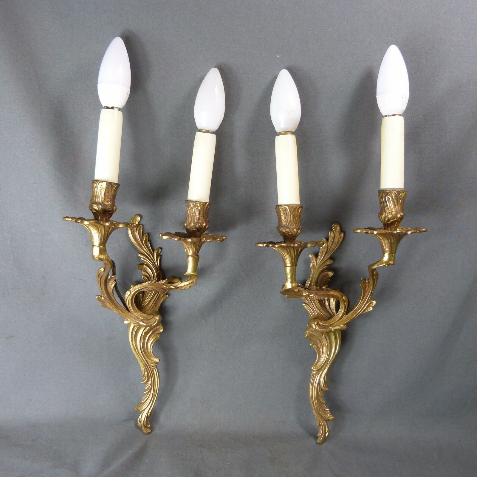 Pair Of French Antique Bronze Rococco Style Candle Wall Sconces Lights