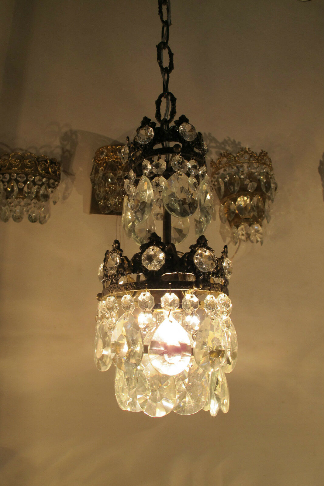 Antique French Basket Style Small Crystal Chandelier Lamp Light 1940's--