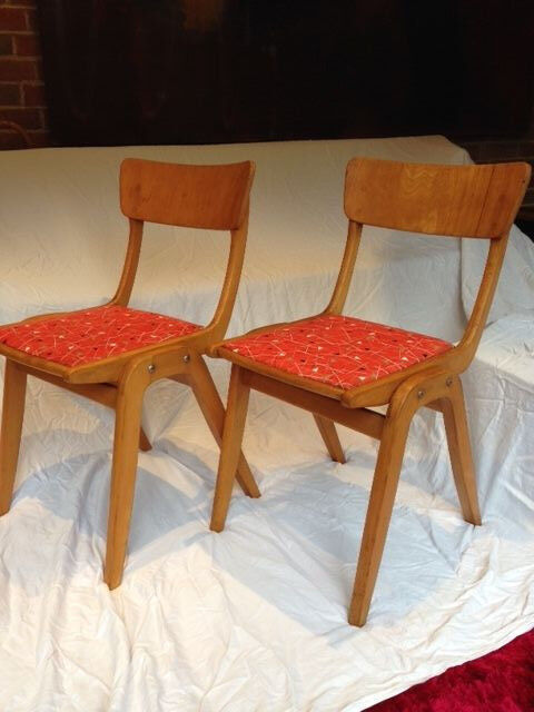 A Pair of Vintage retro 1950's beechwood Kitchen Dining Chairs Standard Bentwood