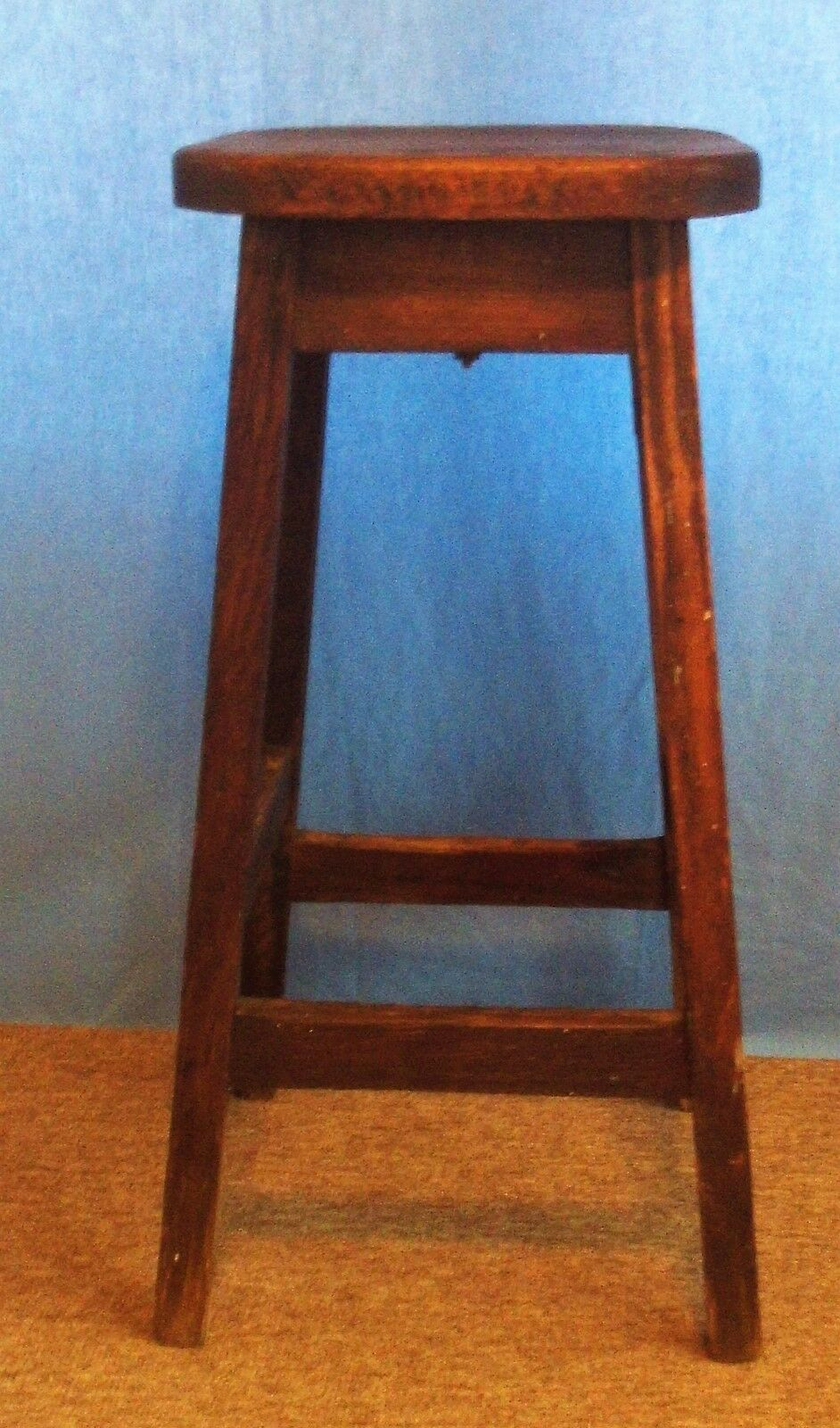 "Antique Primitive Solid Wood Oak 4 Legged Stool ""Very Sturdy"""
