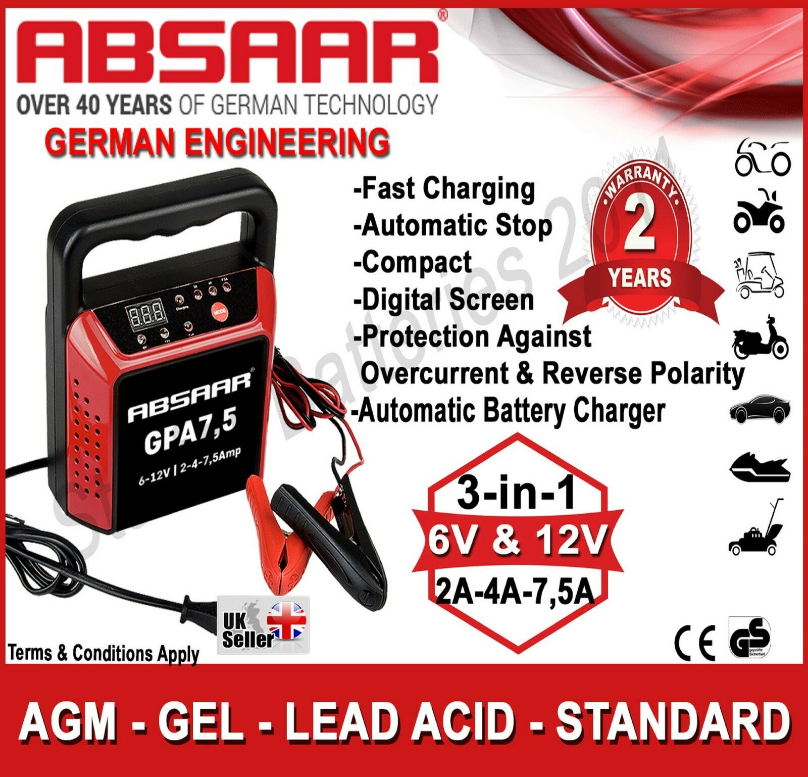 Absaar Gpa75 6v 12v 2a 4a 75a Automatic Battery Charger Lead Acid Note Or You Can Use This 6v12v With 1 Of 1free Shipping See More