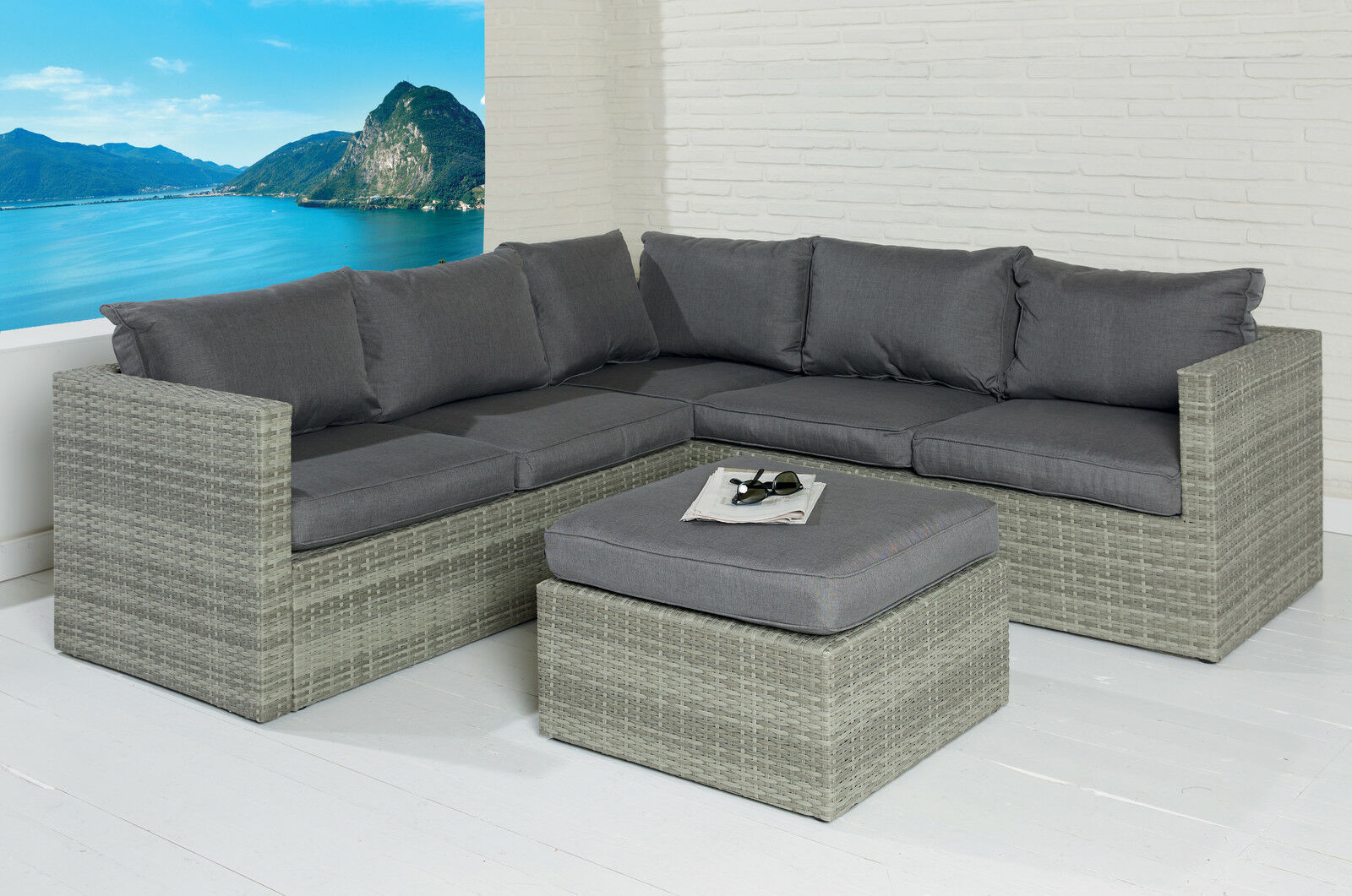 poly rattan gartenm bel set loungem bel garnitur sitzgruppe gartenstuhl gruppe eur 599 00. Black Bedroom Furniture Sets. Home Design Ideas