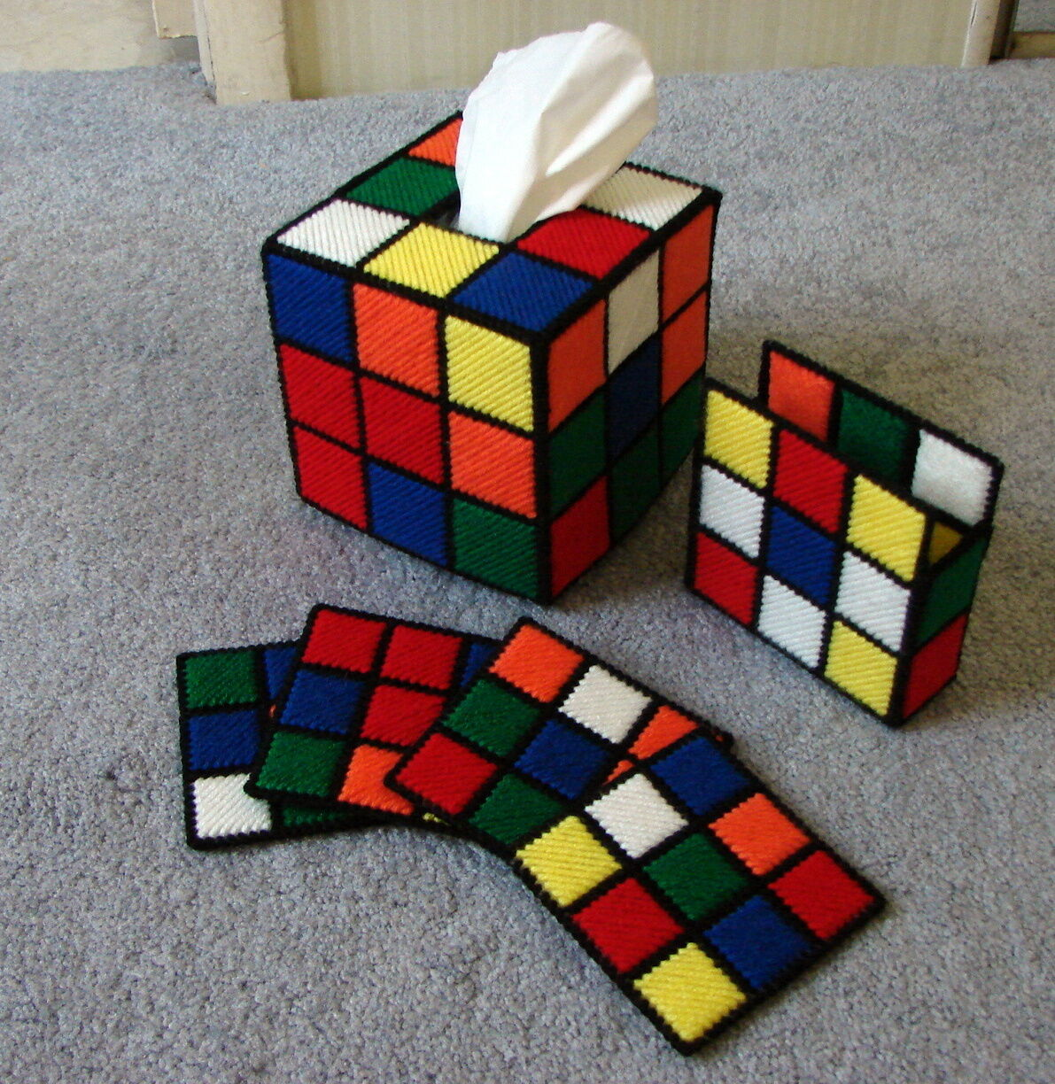 Rubik 39 S Cube Tissue Box Cover Coasters With Holder The