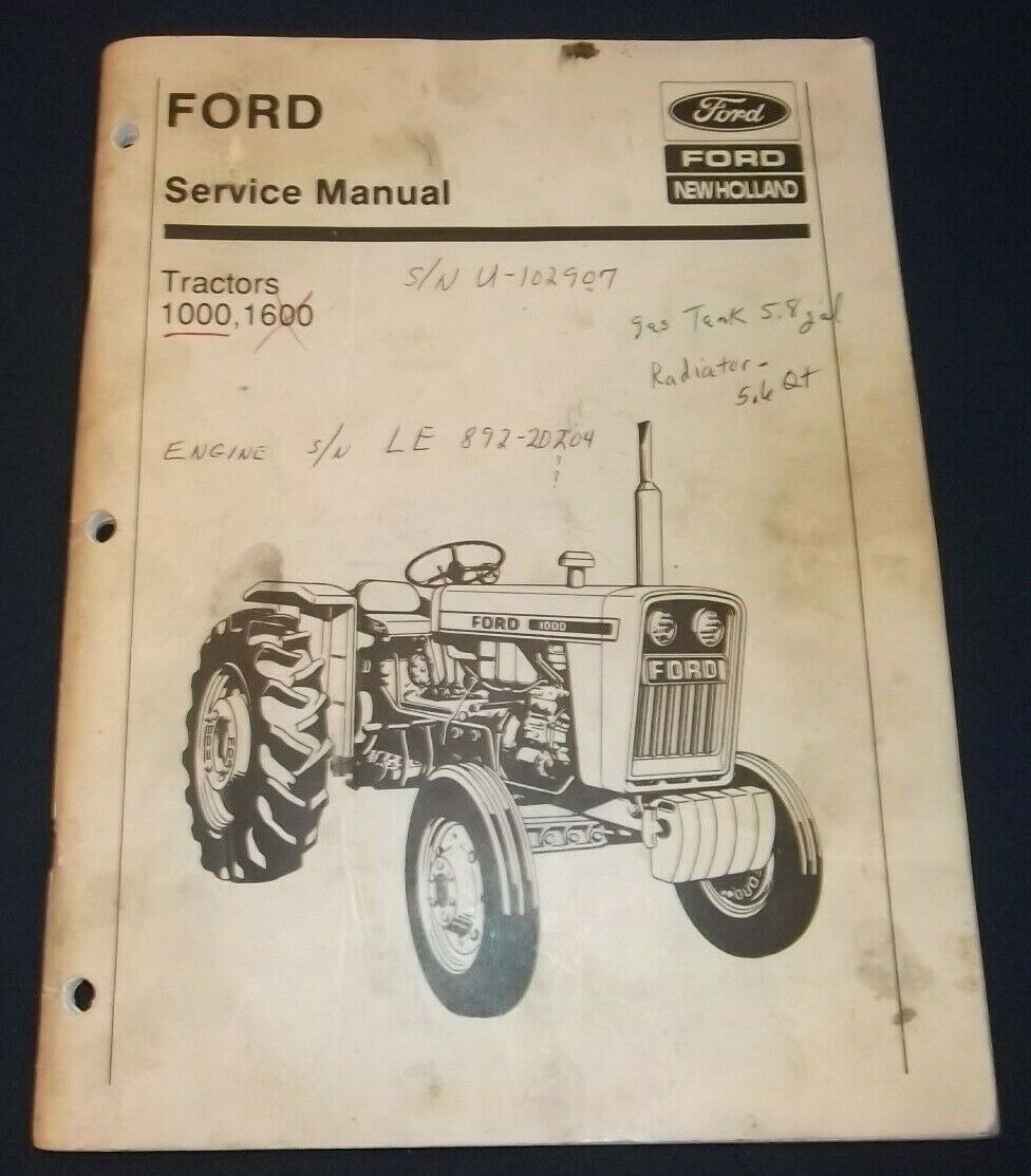 1 of 3Only 2 available Ford New Holland 1000 1600 Tractor Service Shop  Repair Manual Book Oem Original