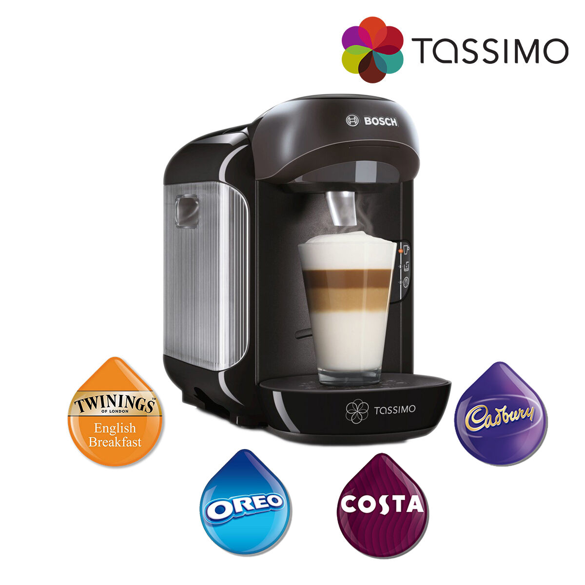 bosch tassimo vivy tas1252gb coffee pod machine hot drink. Black Bedroom Furniture Sets. Home Design Ideas