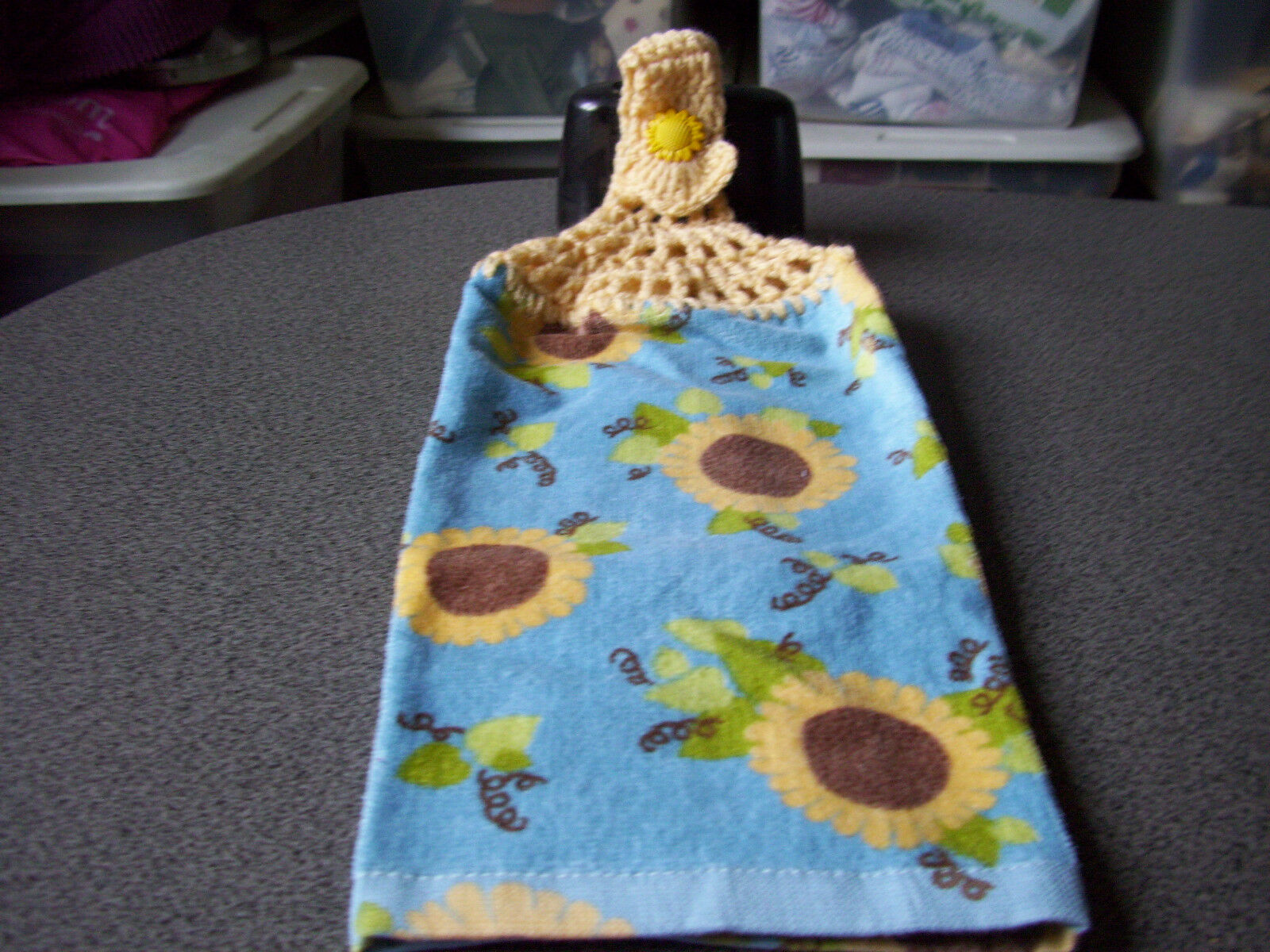 SUNFLOWER SUNFLOWERS BLUE Hanging Crochet Top Kitchen Towel - $4.99 ...