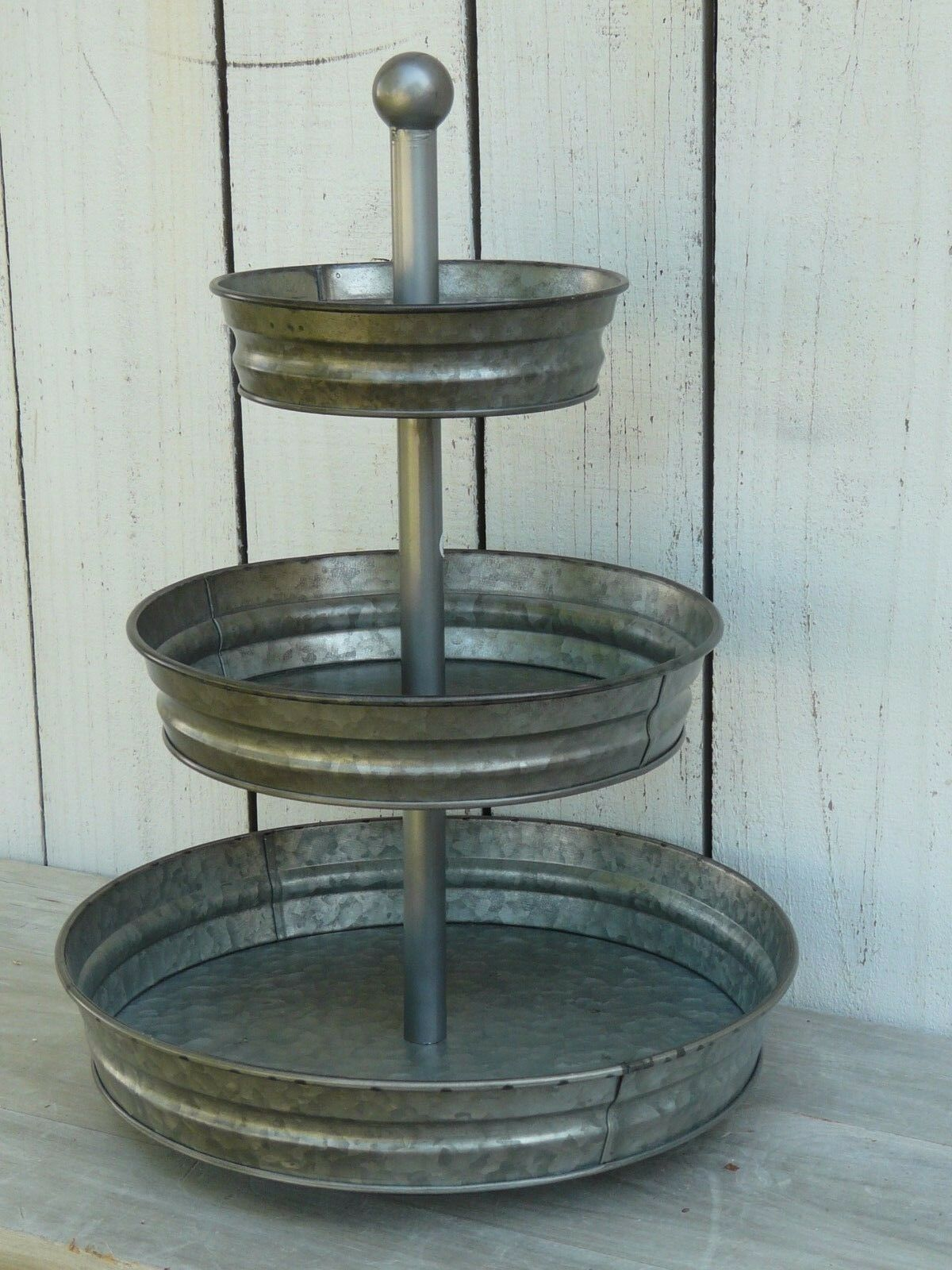 vintage style galvanized metal 3 tier large tray country home