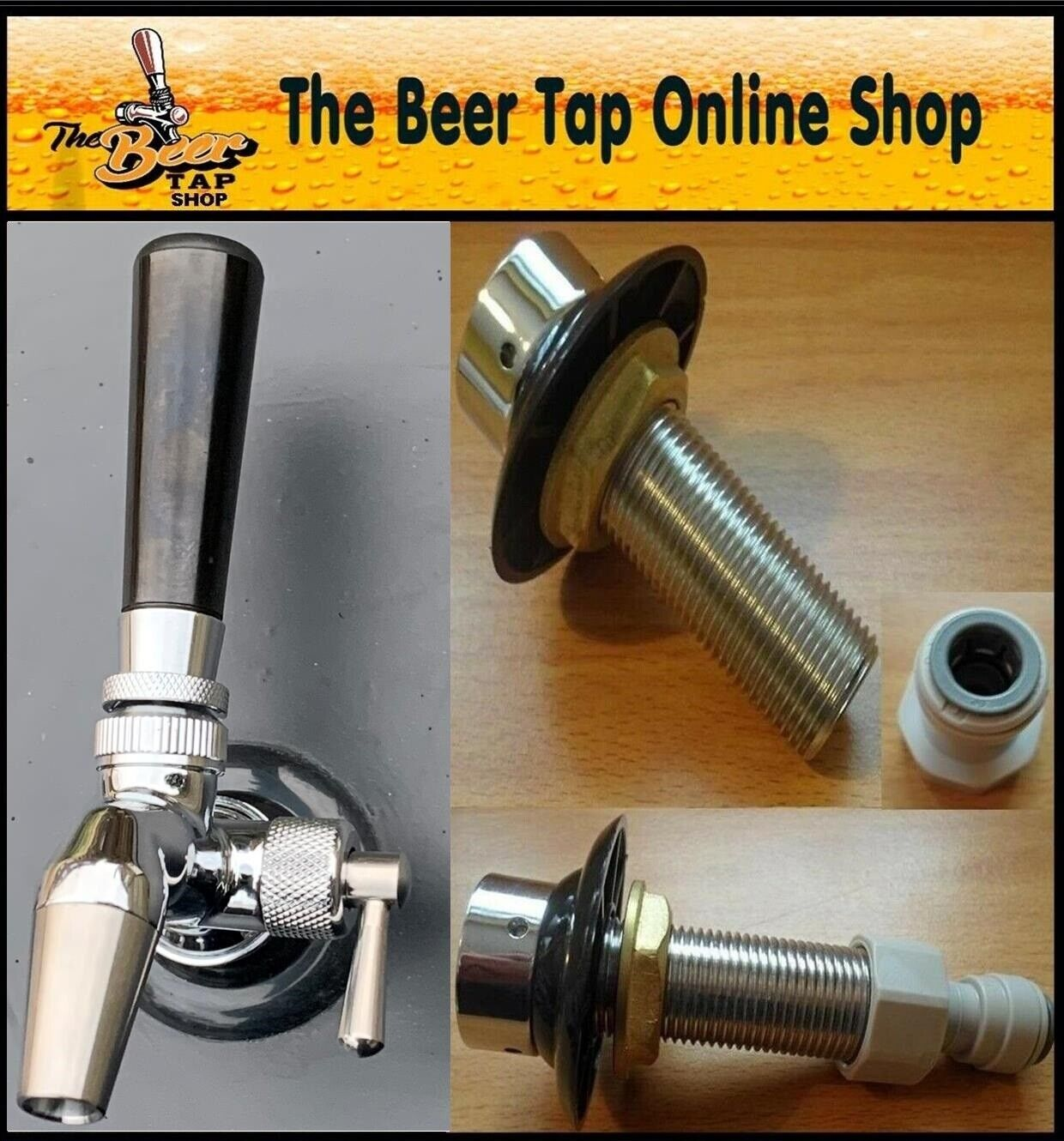 BEER TAP Intertap Flow Control Stainless Steel Faucet & Shank ...