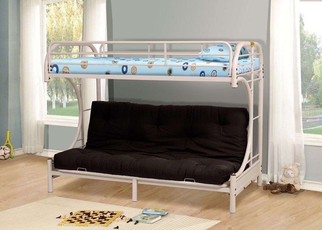 White Metal Twin Futon Bunk Bed Couch Kids Boys S Bedroom Furniture Daybed 1 Of 1only 2 Available