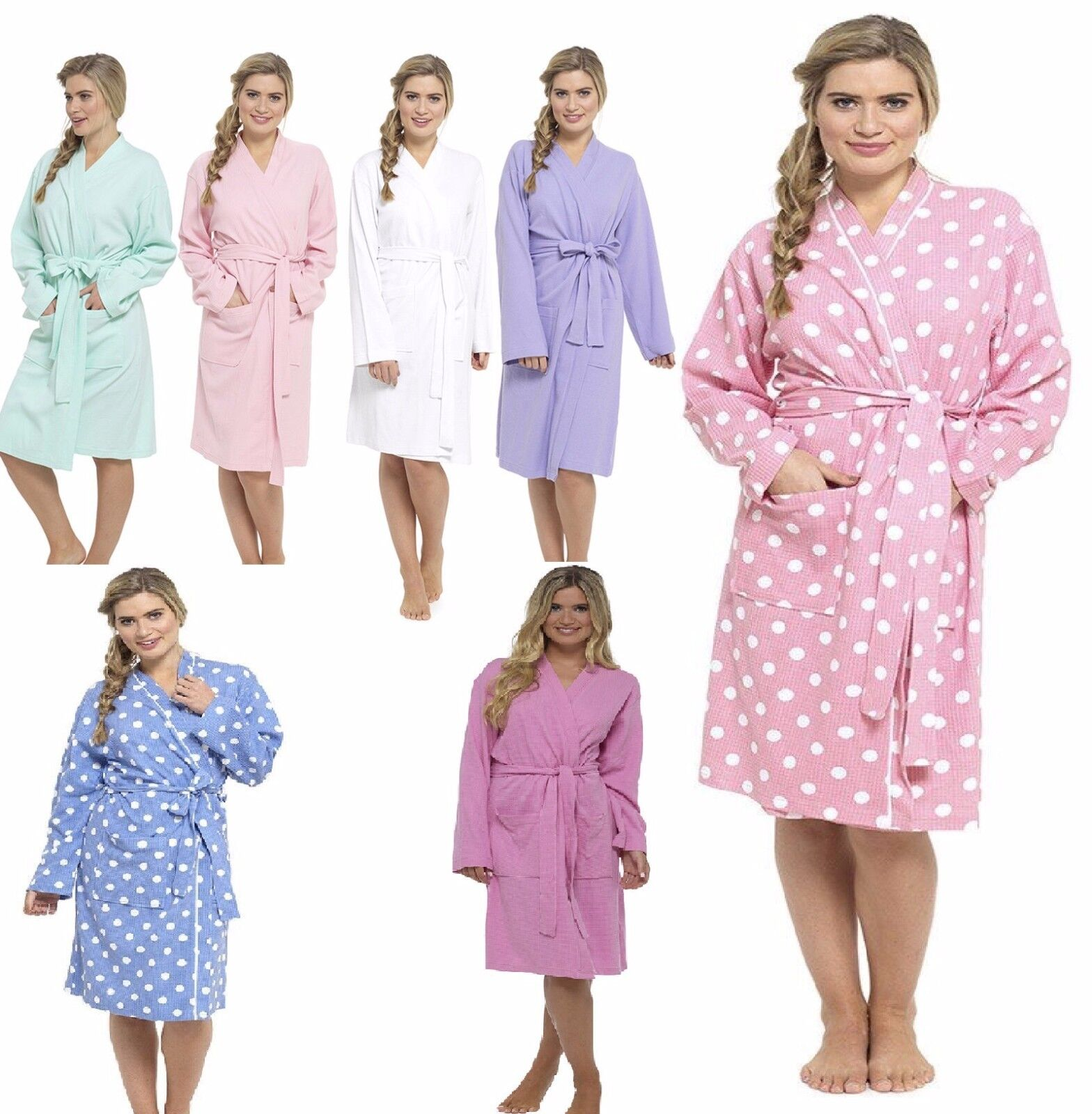 LADIES WOMENS WAFFLE Bath Robe 100% Cotton Dressing gown Comfortable ...
