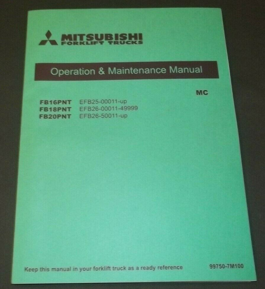mitsubishi fb16pnt fb18pnt fb20pnt forklift operation & maintenance  1 of 1only 2 available