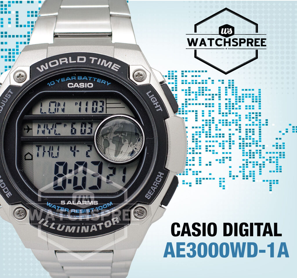 Casio Standard Digital Watch Ae3000wd 1a 3799 Picclick World Time Ae 1000w Original 1 Of 1only 2 Available