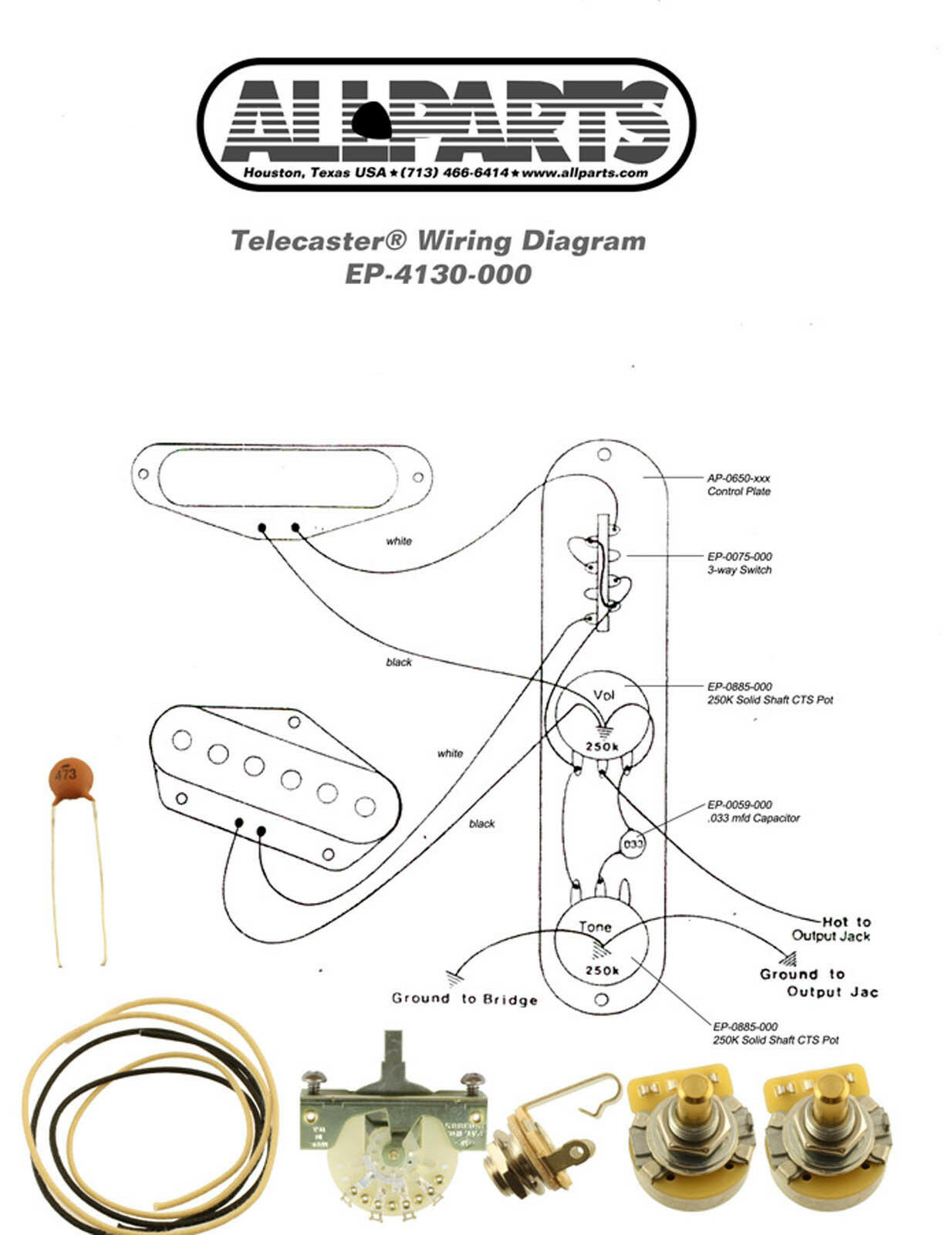 Wiring Kit Fender Telecaster Tele Complete With Schematic Diagram 3 Way Usa Parts 1 Of 1only 2 Available