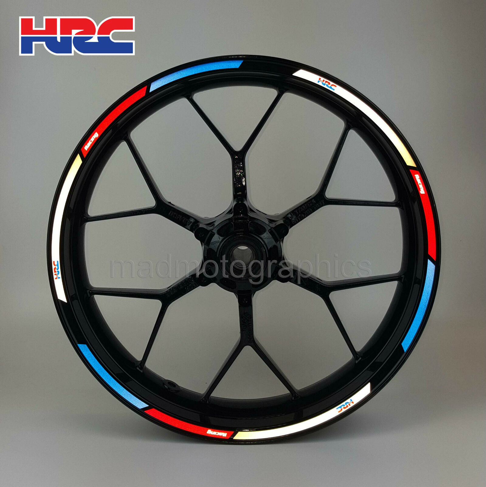 Hrc Reflective Motorcycle Wheel Decals Rim Stickers Stripes Honda Cbr600rr Series Slip On Exhaust M 2 Carbon Fiber Canister Hitam 1 Of 5free Shipping