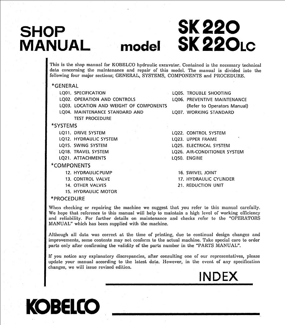 Kobelco Sk220 Lc V Lcv Hydraulic Excavator Shop Service Manual Sk210 Wiring Diagram 1 Of 5only Available