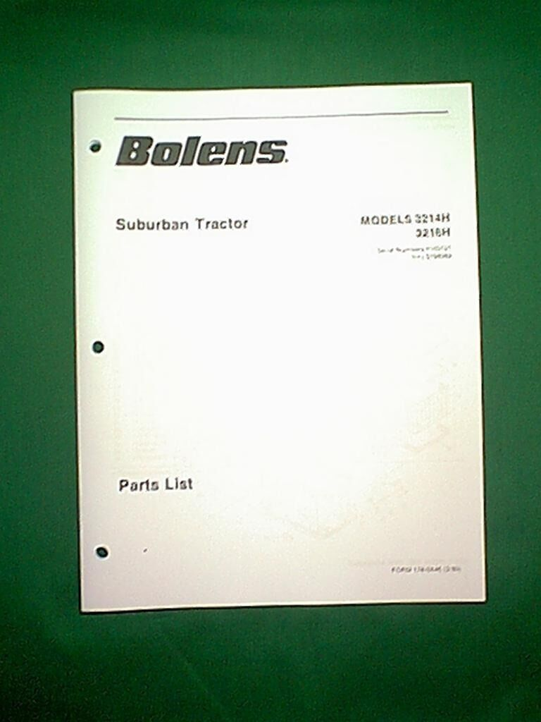 Bolens Suburban Tractor Models 3214h 3216h Parts Manual 3 90 1050 Wiring Diagram 1 Of 1only Available