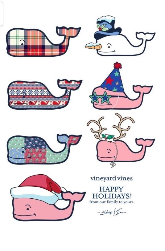 new sheet of 7 vineyard vines holiday christmas whale stickers nwt