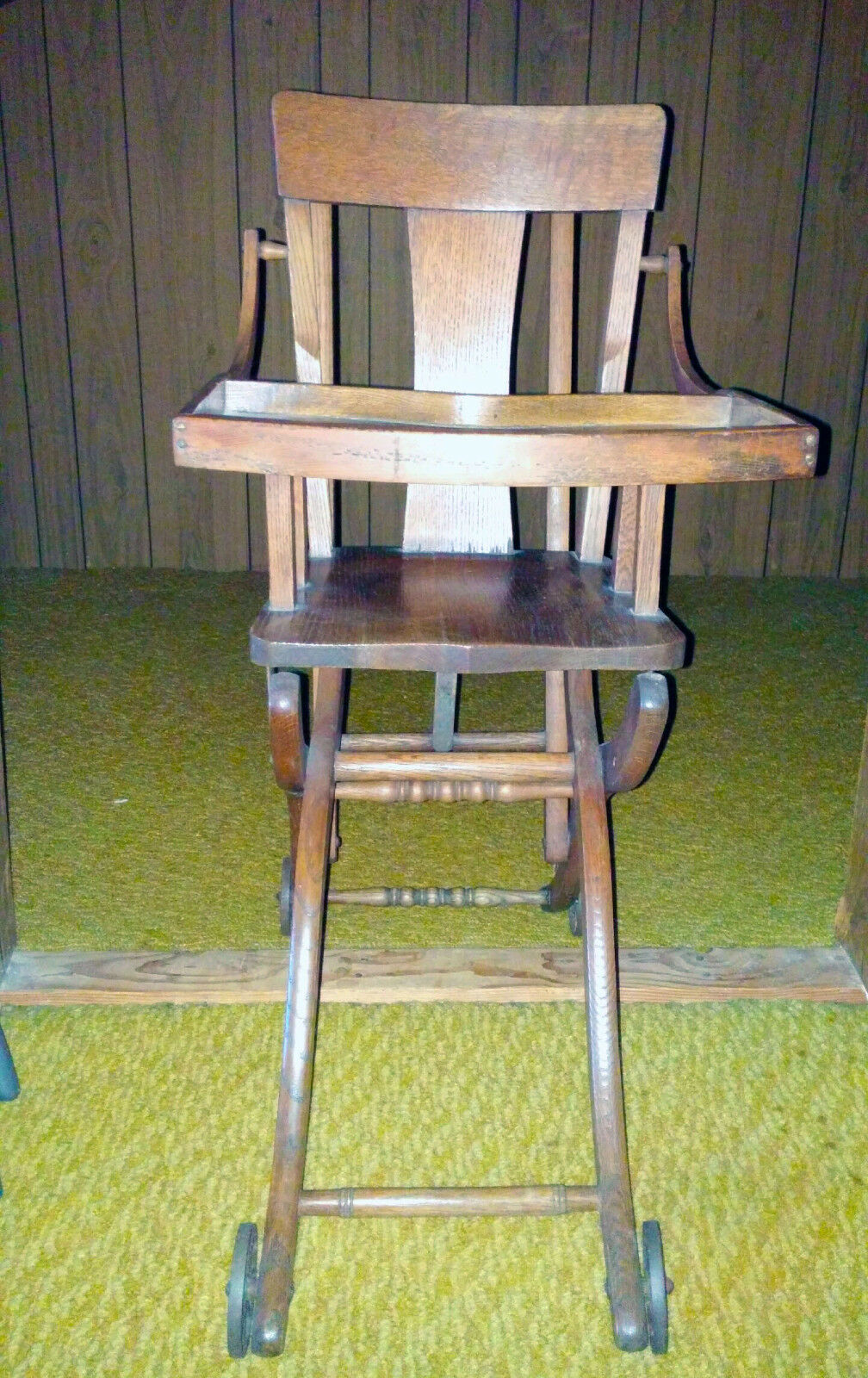 Antique Child High Chair Oak Wood Converts To Walker Stroller 1 of 4Only 1  available ... - ANTIQUE CHILD HIGH Chair Oak Wood Converts To Walker Stroller