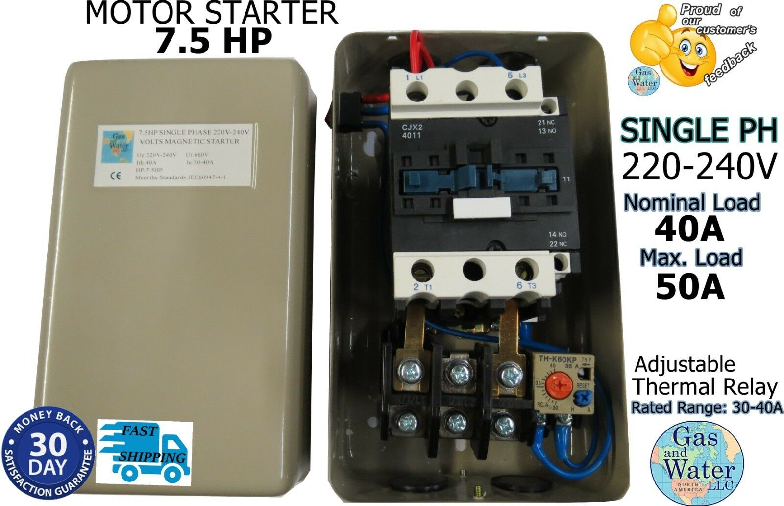 Magnetic 75hp Electric Motor Starter Single Phase 220 240v 30 40a 1 Of 7free Shipping